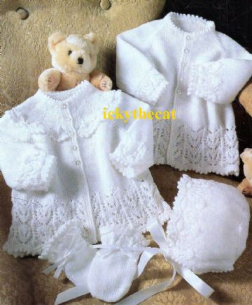 PDF Digital Download Vintage Knitting Pattern  Baby 4-piece   Jackets Bonnet Mitts. 16-20''
